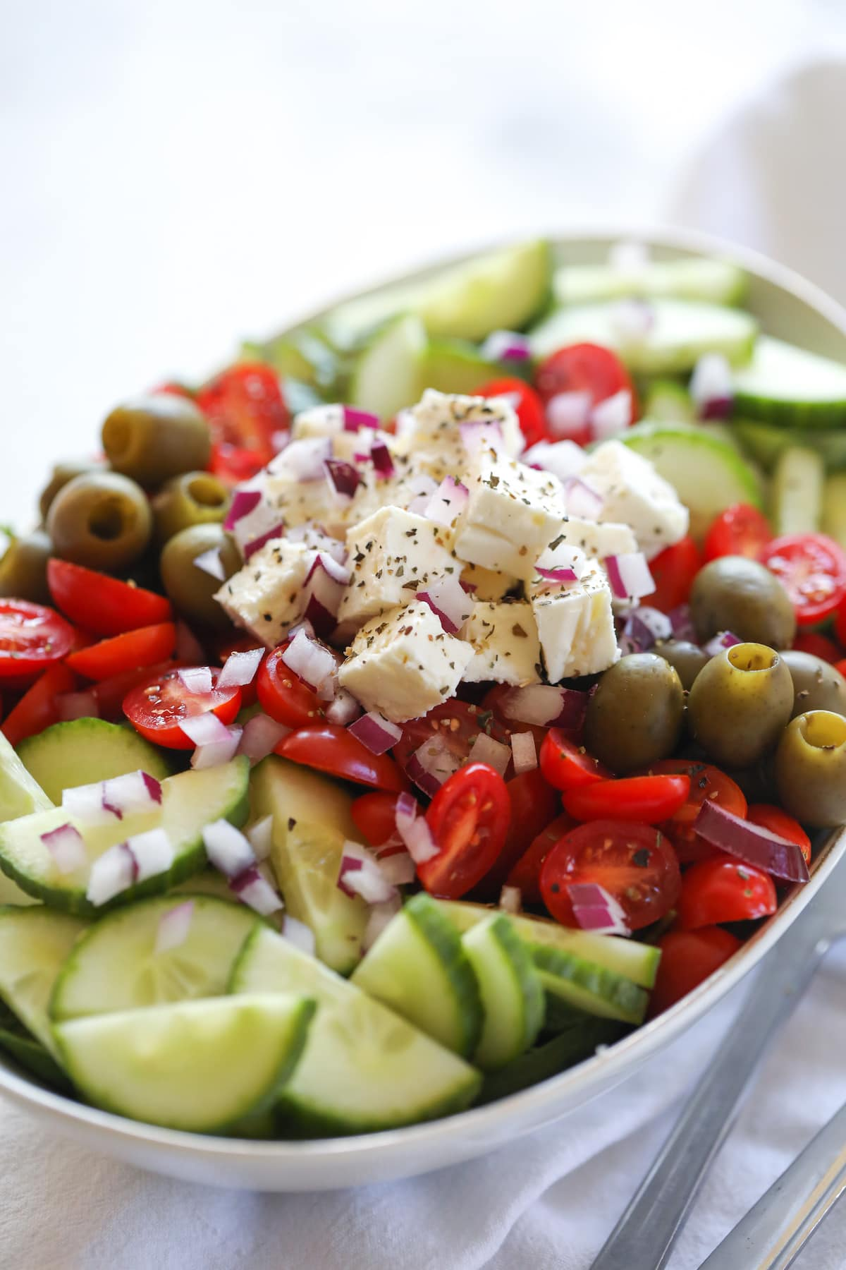 greek salad without dressing in oval bowl