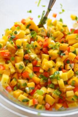 mixed mango salsa in bowl