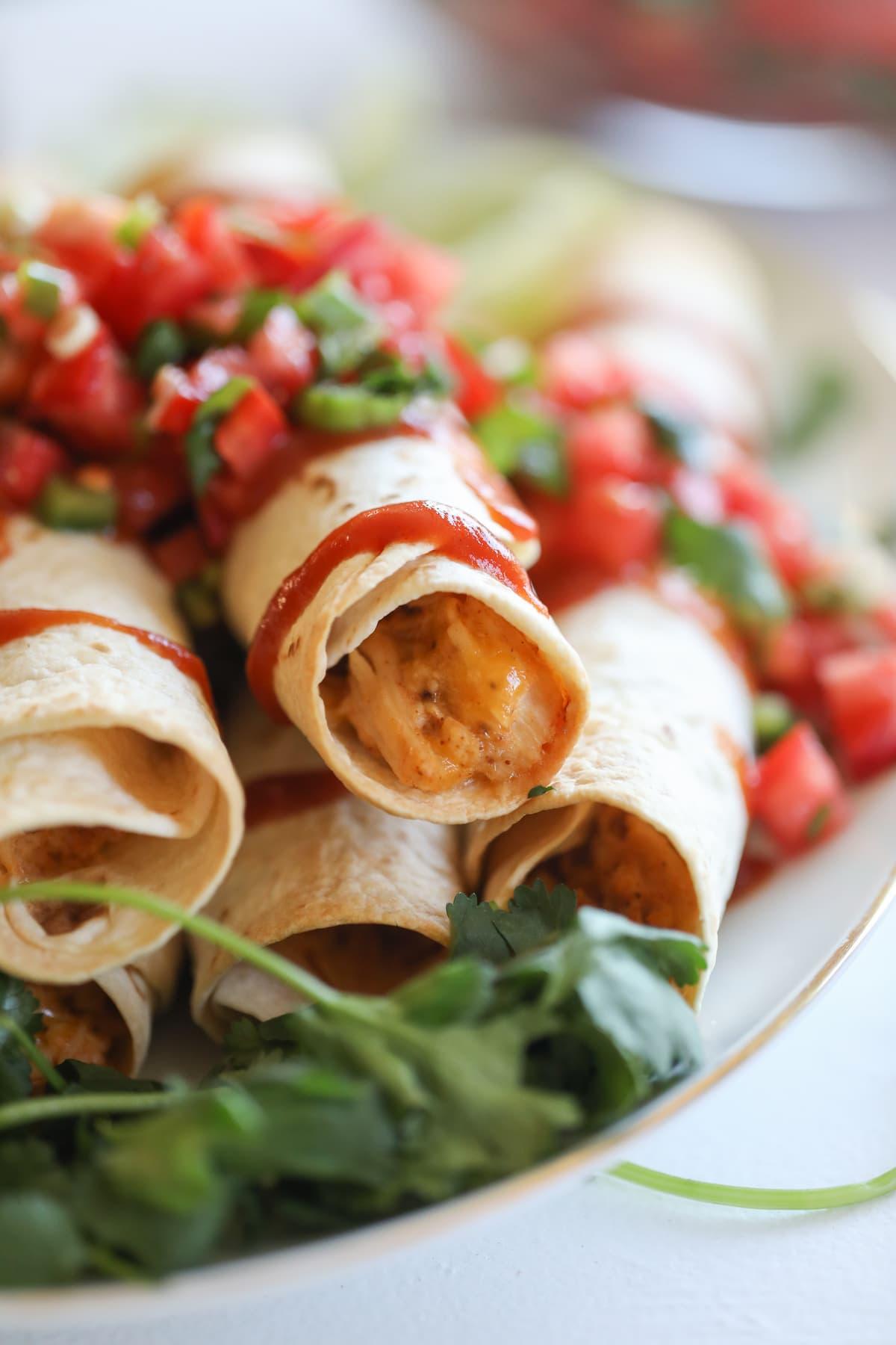 chicken flautas with pico de gallo