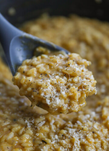 spoon of pumpkin risotto