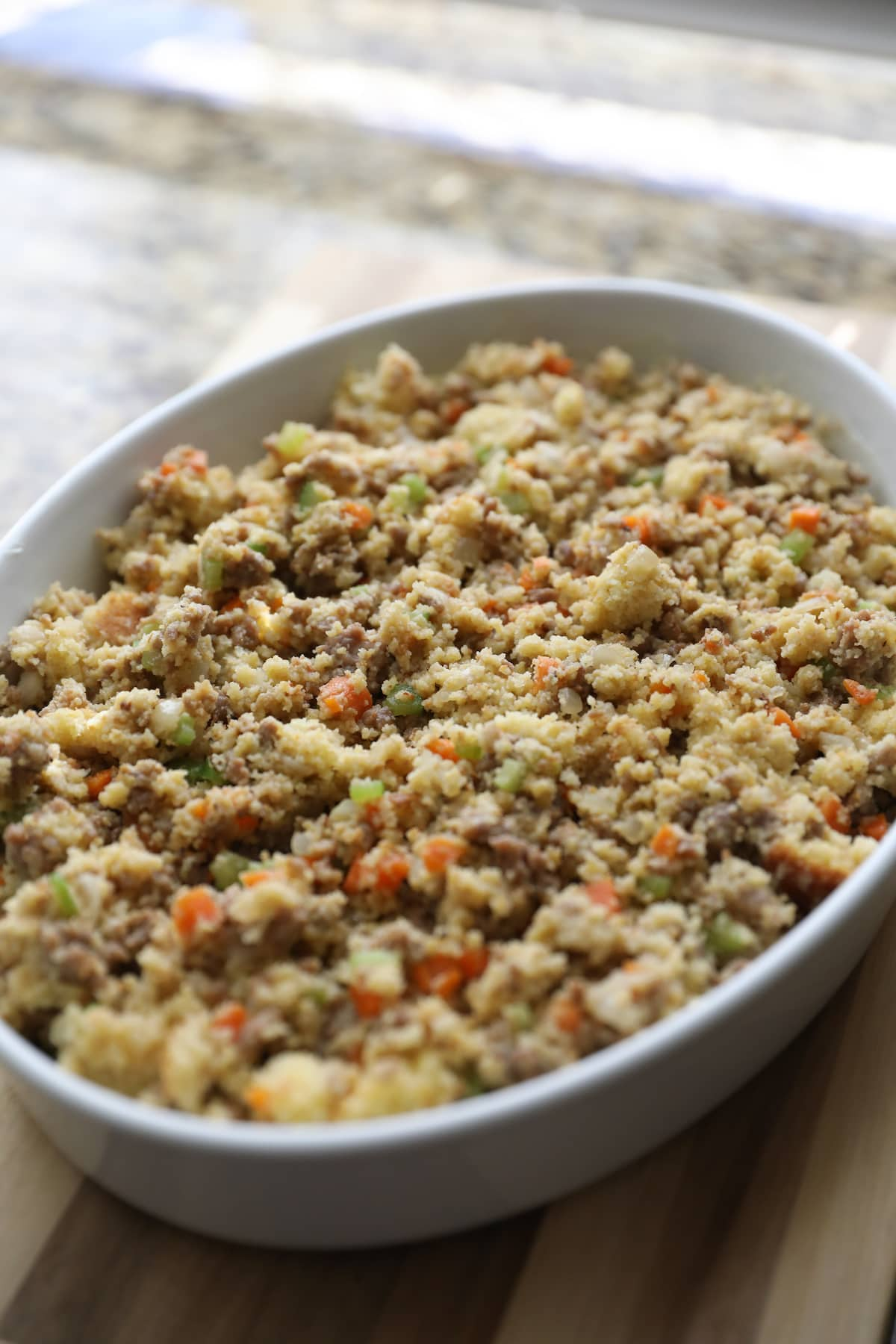 cornbread dressing in baking dish