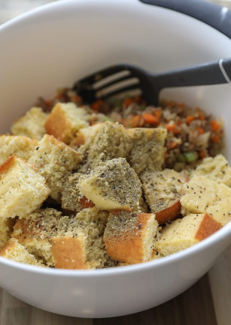 cornbread and veggies in large bowl
