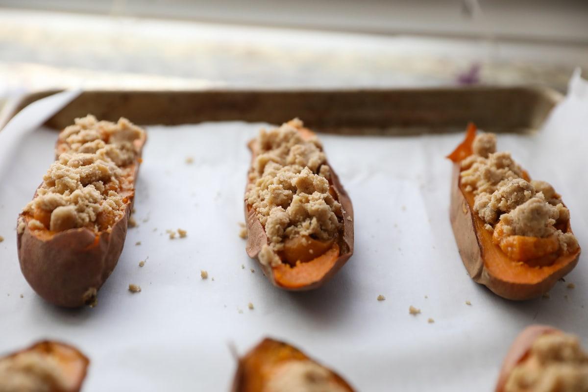 twice baked sweet potatoes on baking sheet