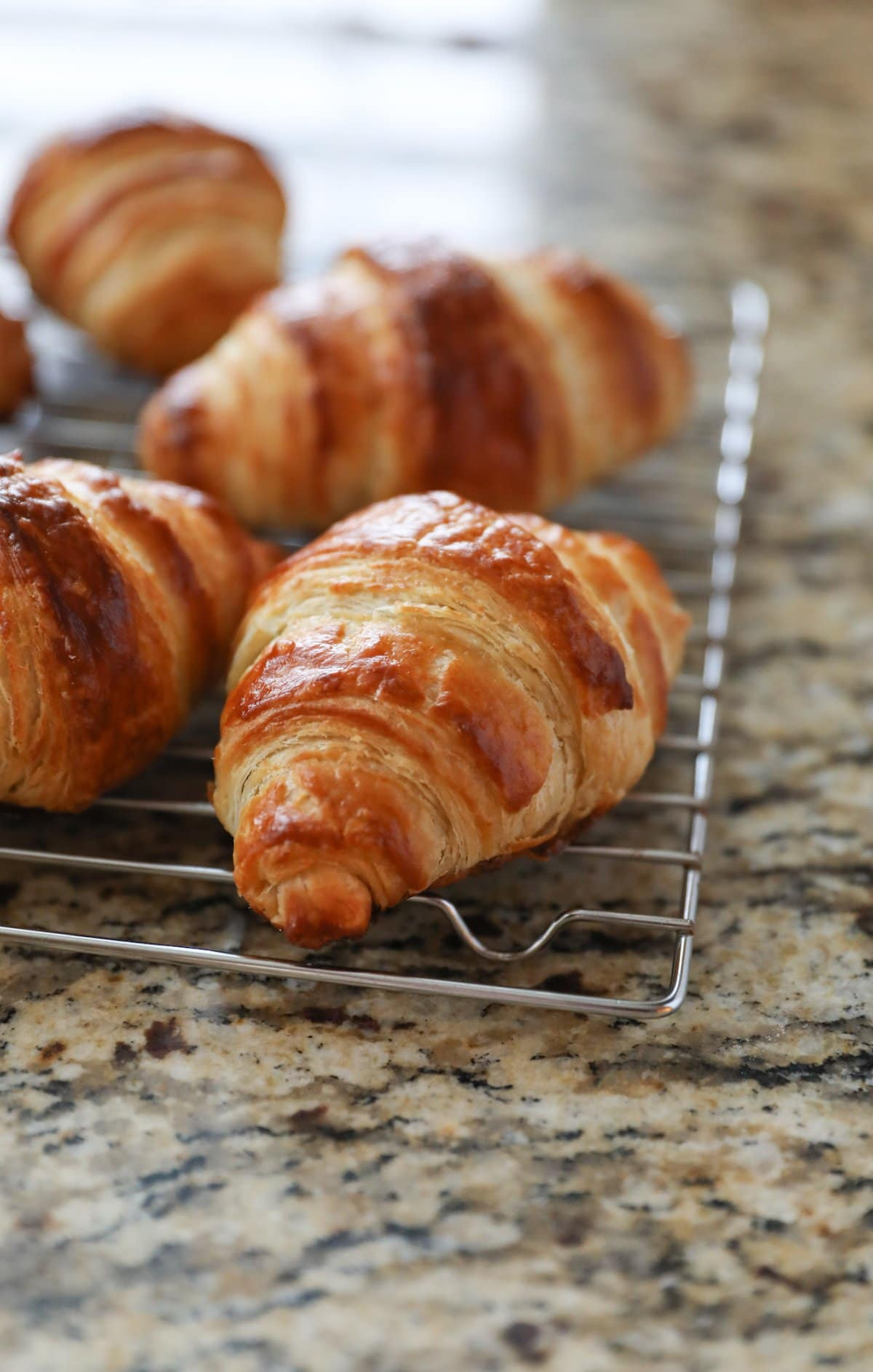 baked croissants on cooling rack