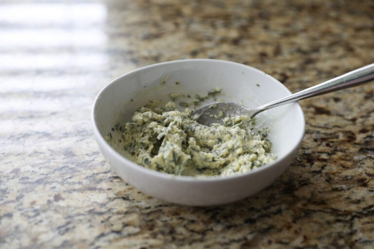 herb butter in white bowl