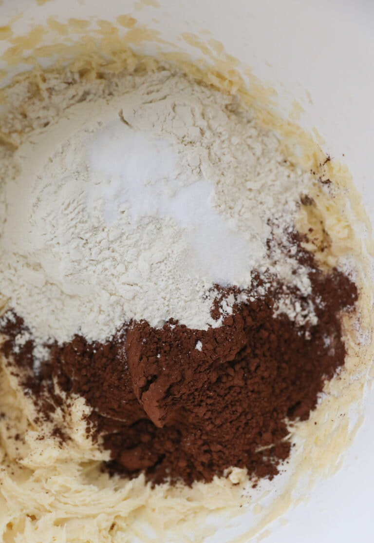 dry ingredients added to cookie dough