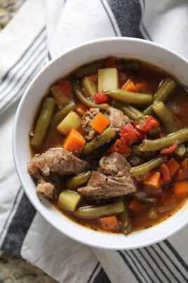 beef vegetable soup in white bowl