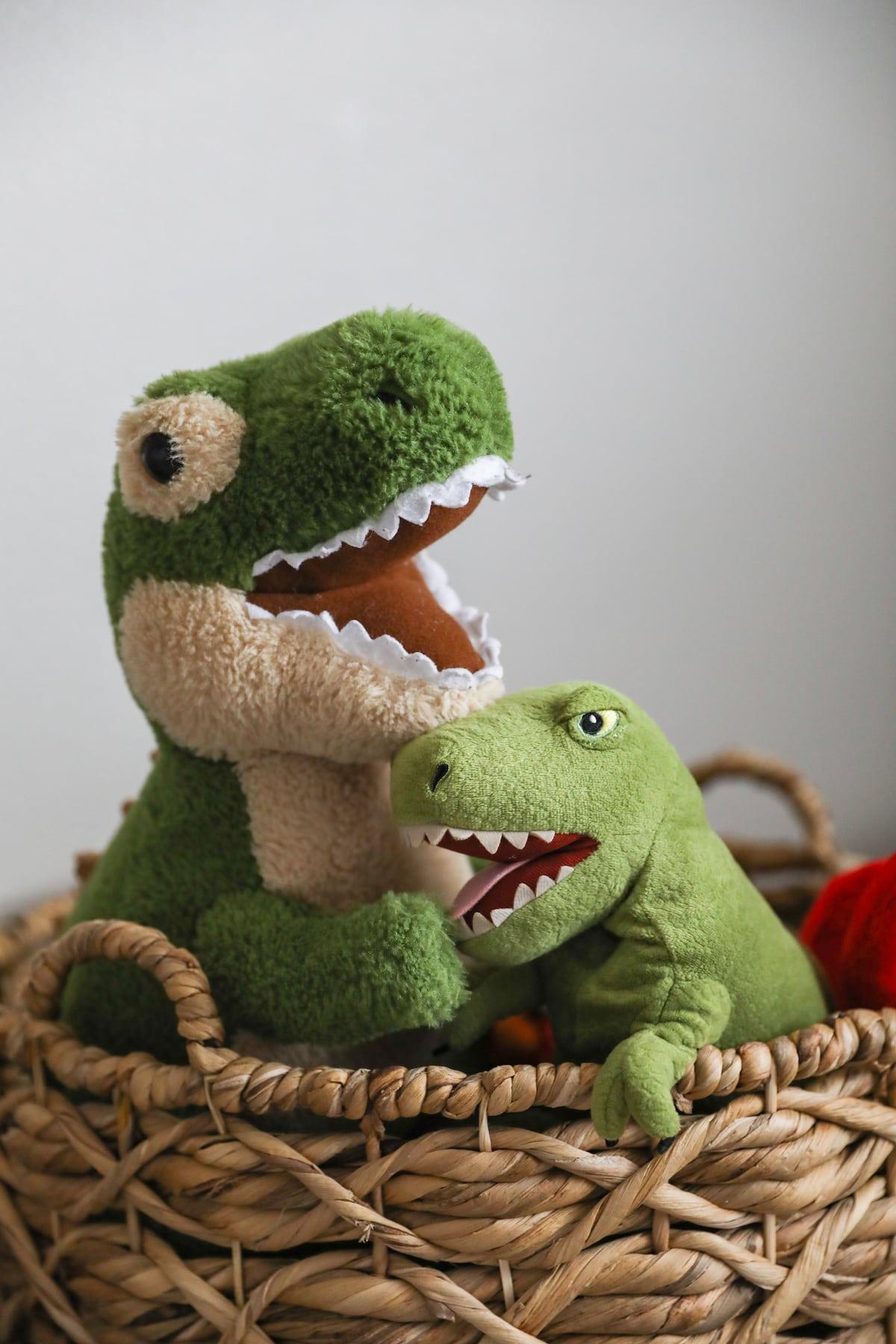stuffed dinosaurs in basket
