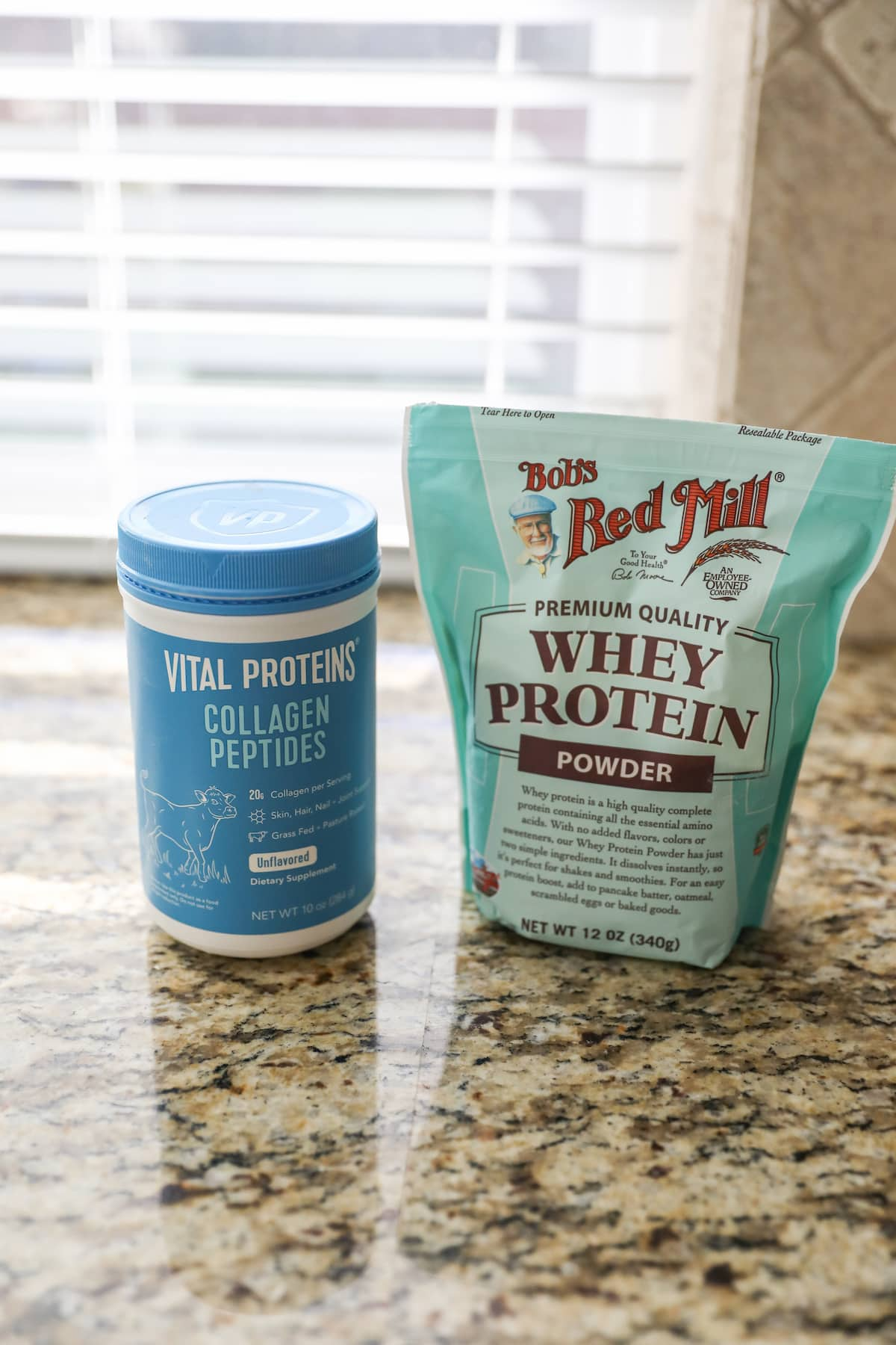 collagen peptides and whey protein on counter