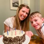 Mom and son with birthday cake