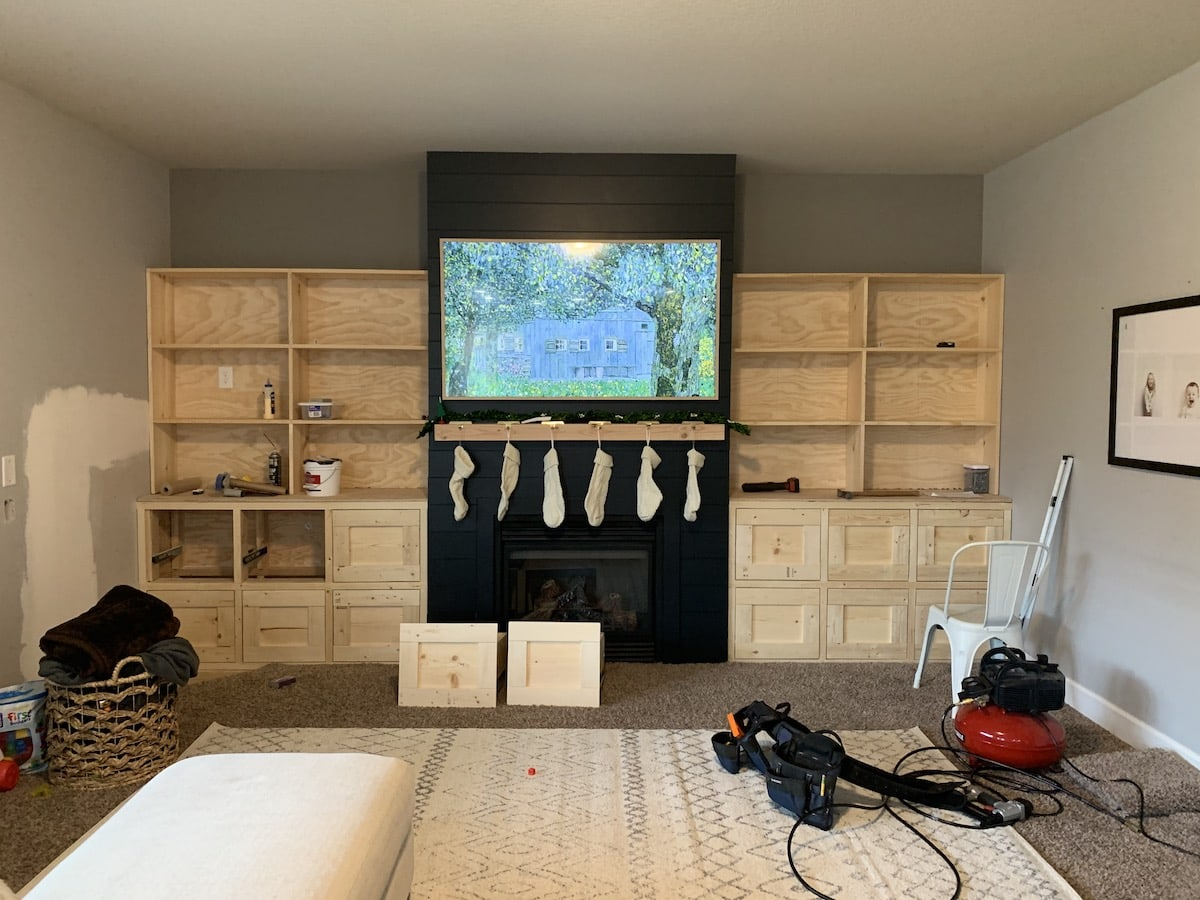 built ins beside fireplace