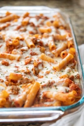 baked ziti in baking pan