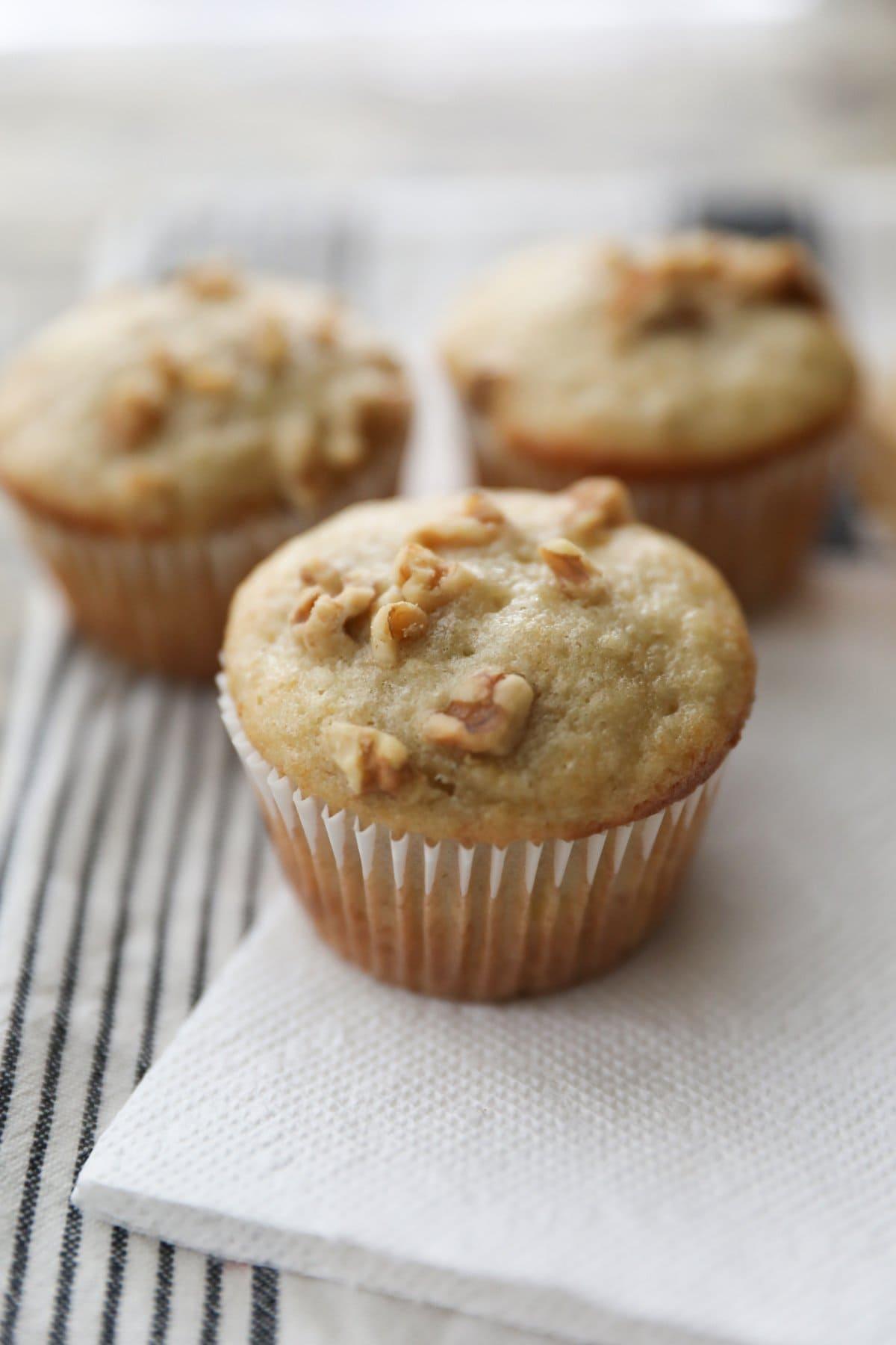 three banana nut muffins