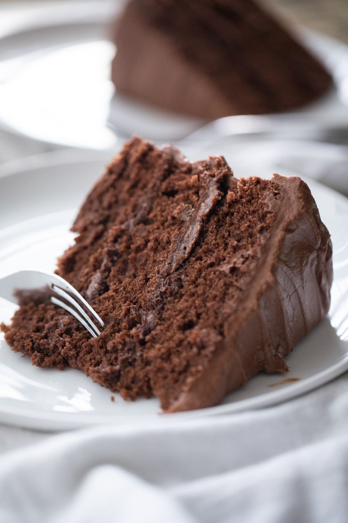slice of chocolate cake with fork taking a piece