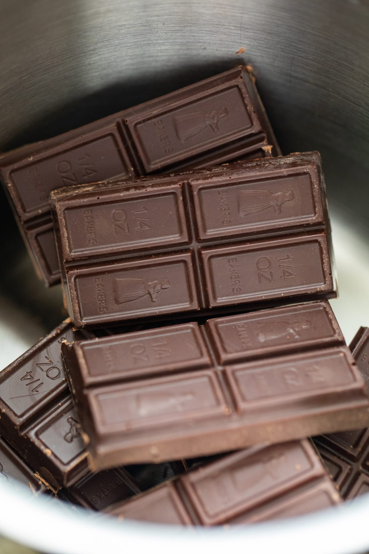 chocolate squares in pot