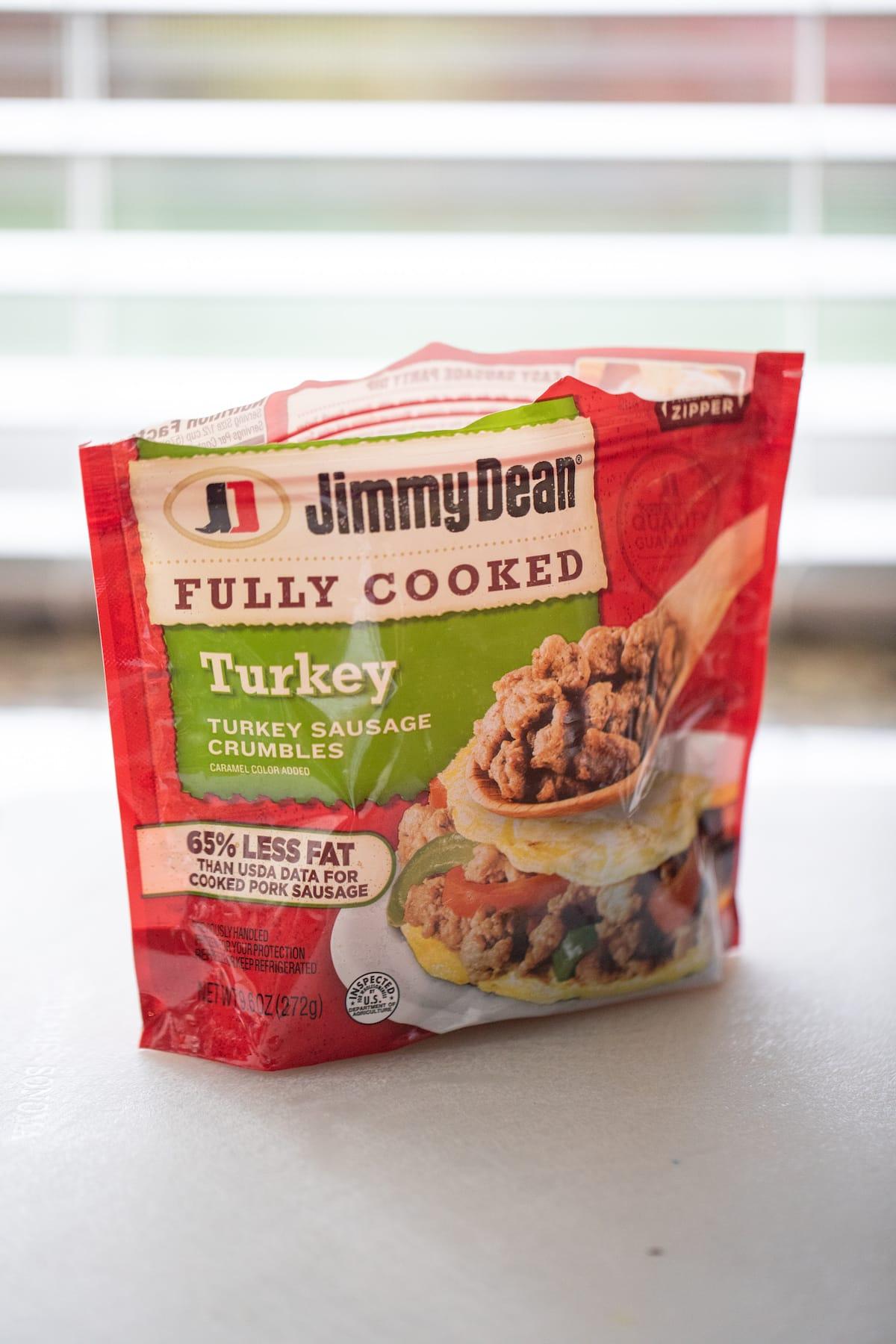 bag of turkey crumbles on cutting board
