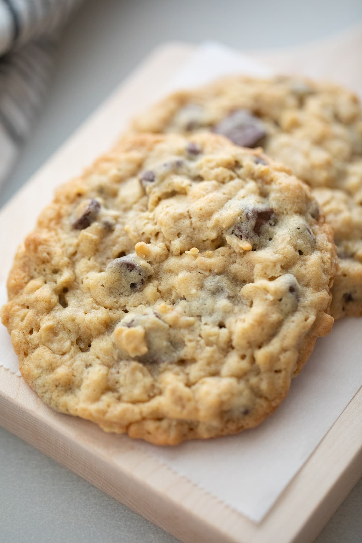 oatmeal chocolate chip cookies on cutting board