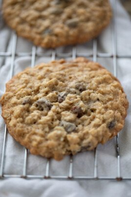 oatmeal raisin cookie on cooling rack
