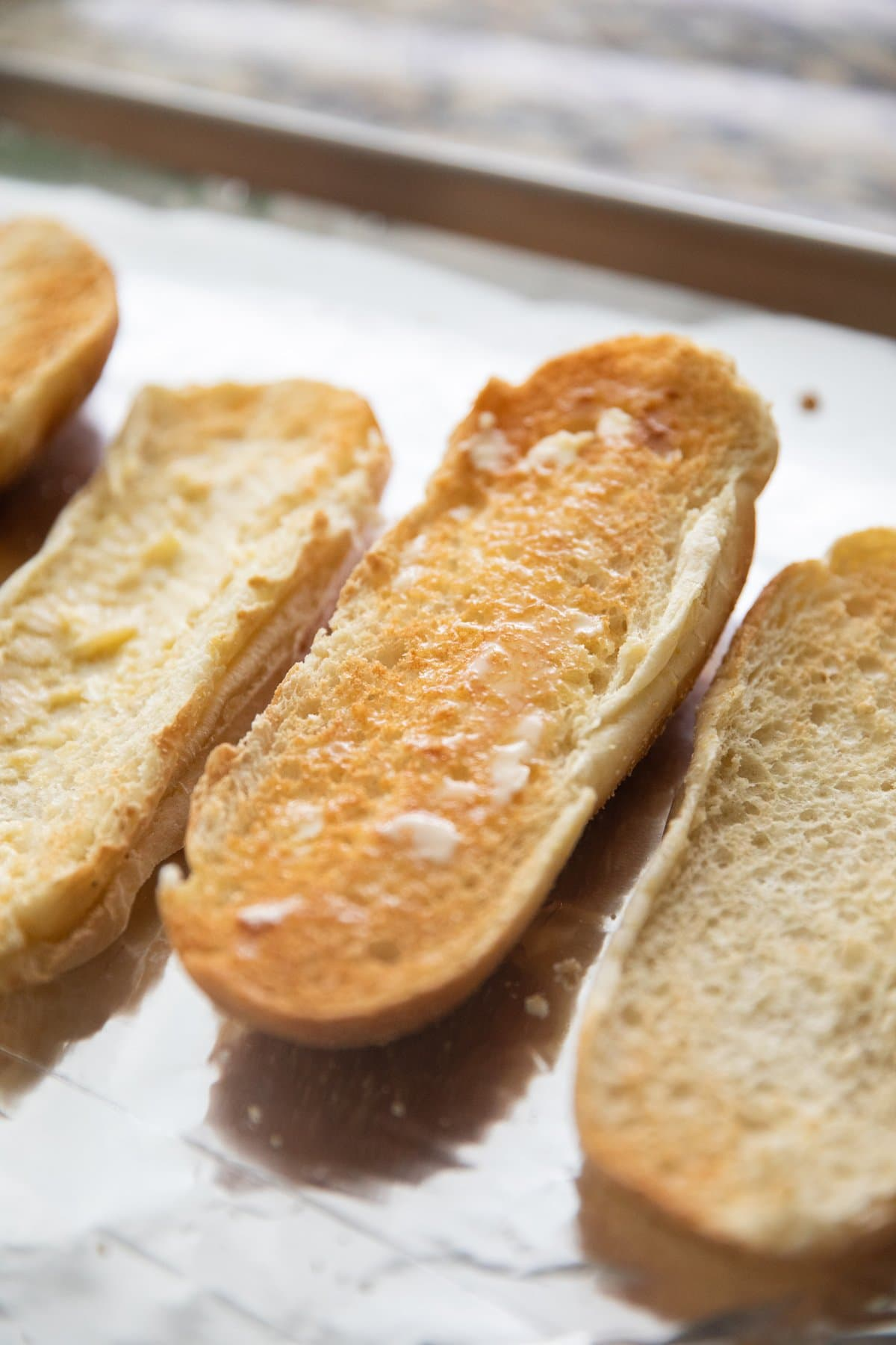 toasted butter hoagie rolls