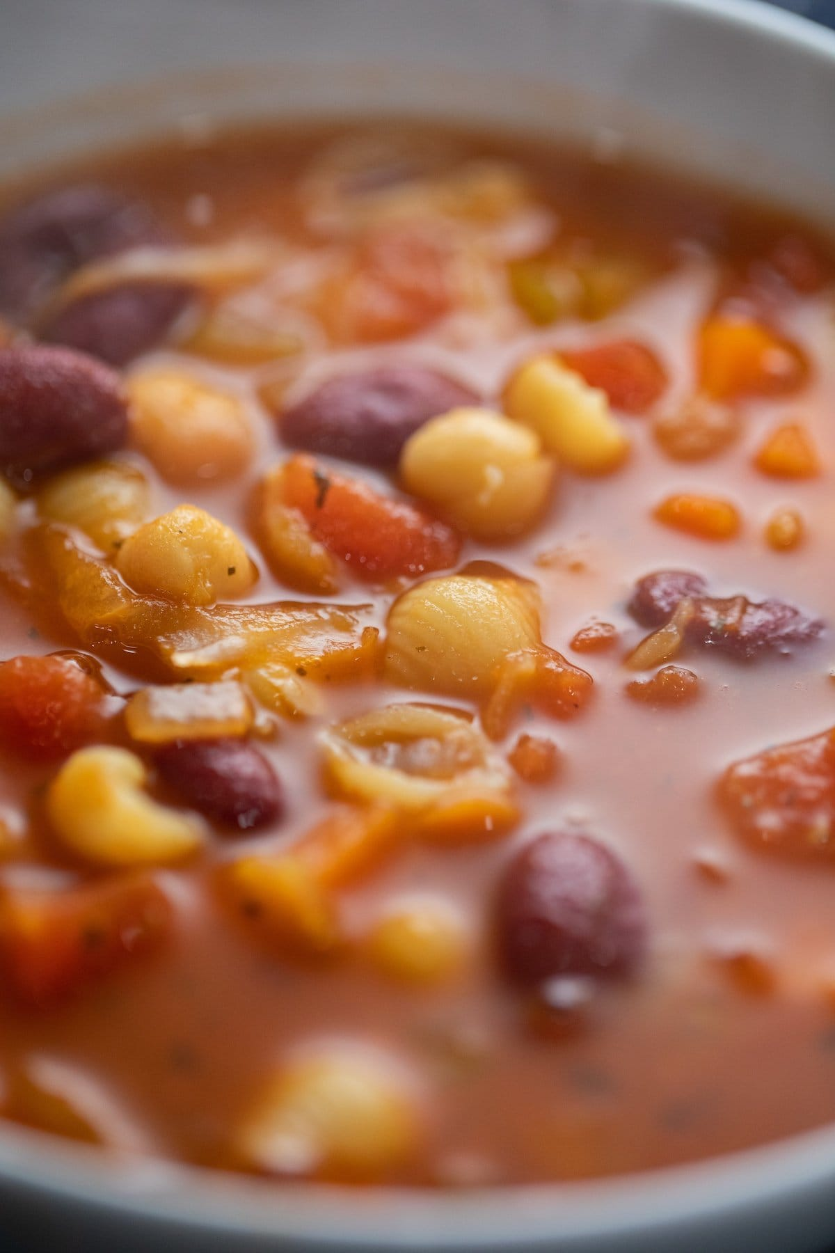 close up of minestrone soup