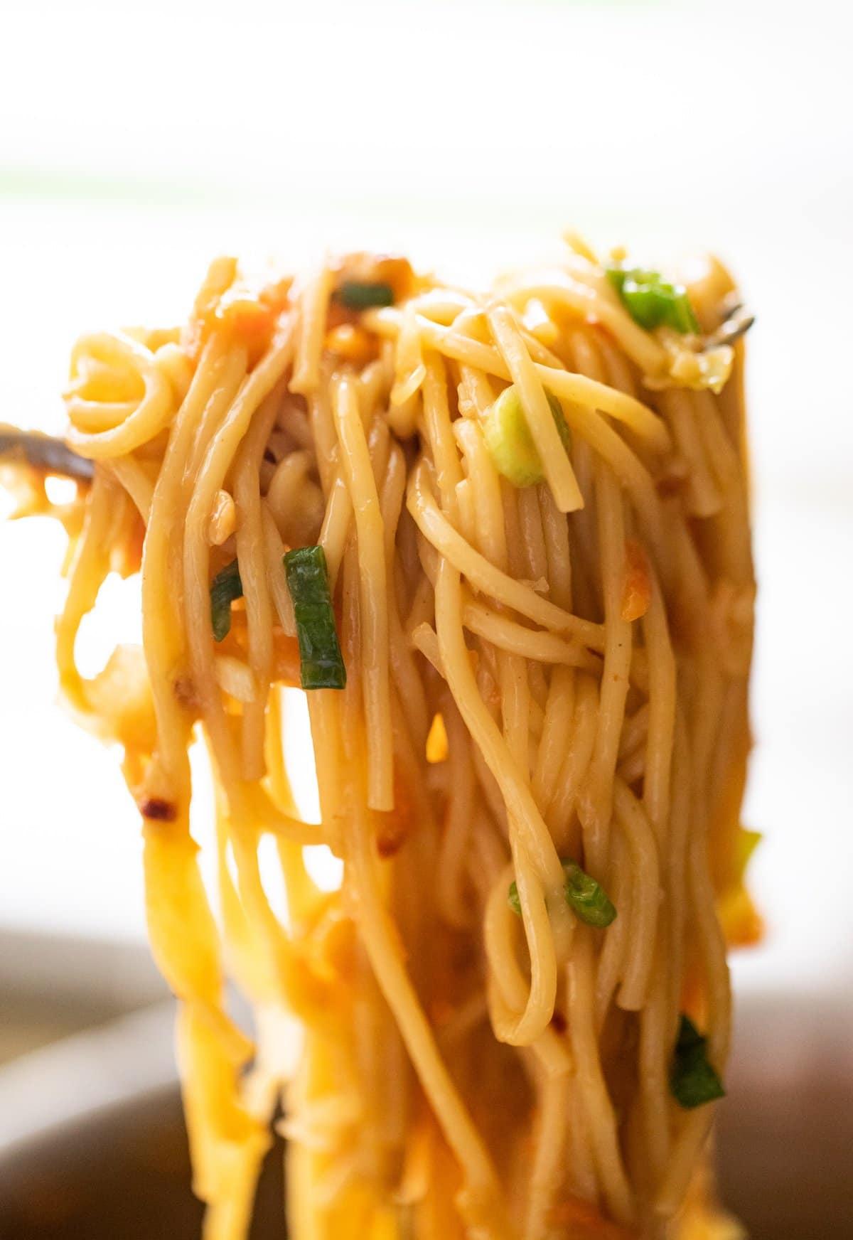 fork full of peanut noodles