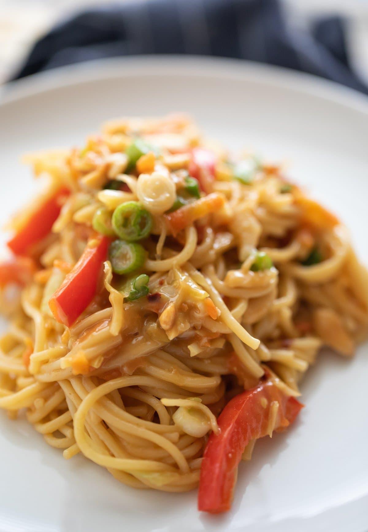 peanut noodles on plate