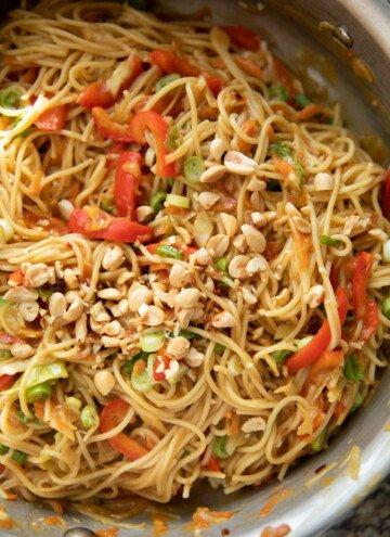 peanut noodles in skillet