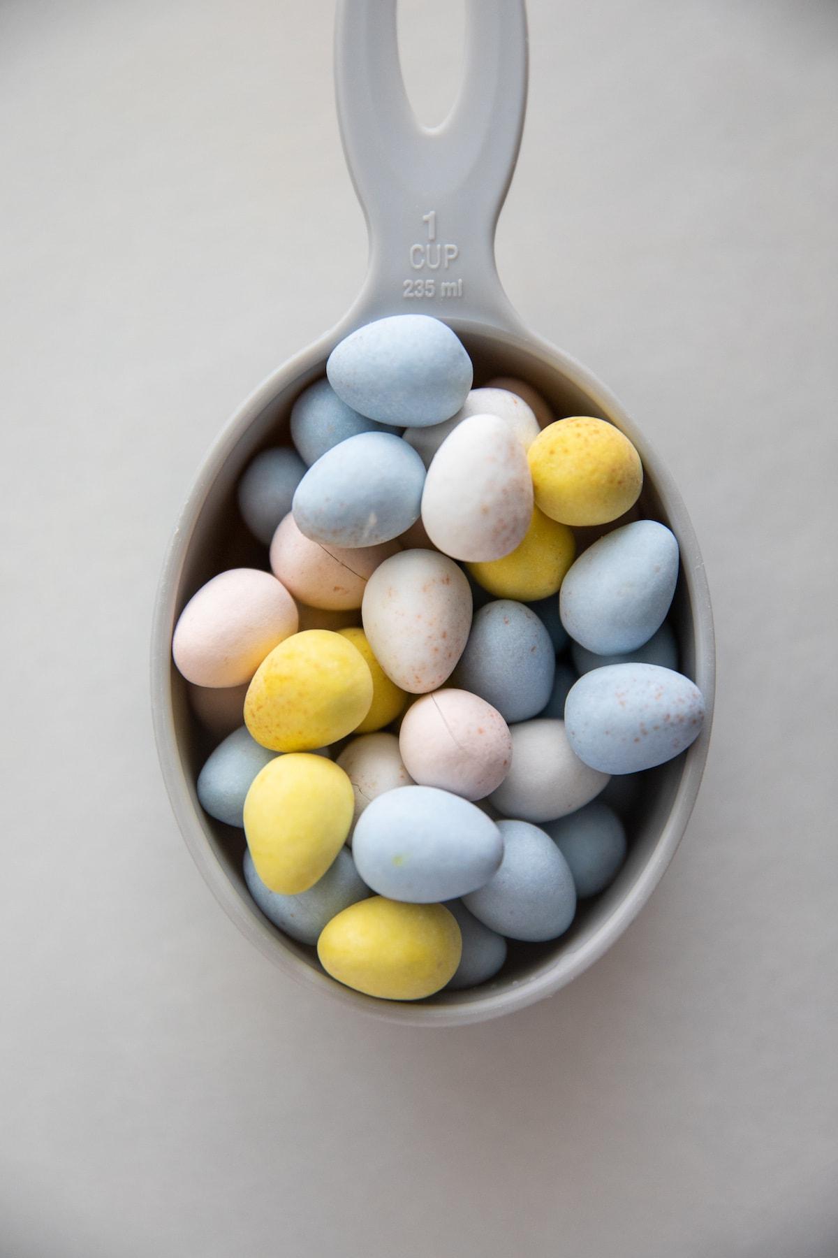 cadbury eggs in measuring cup