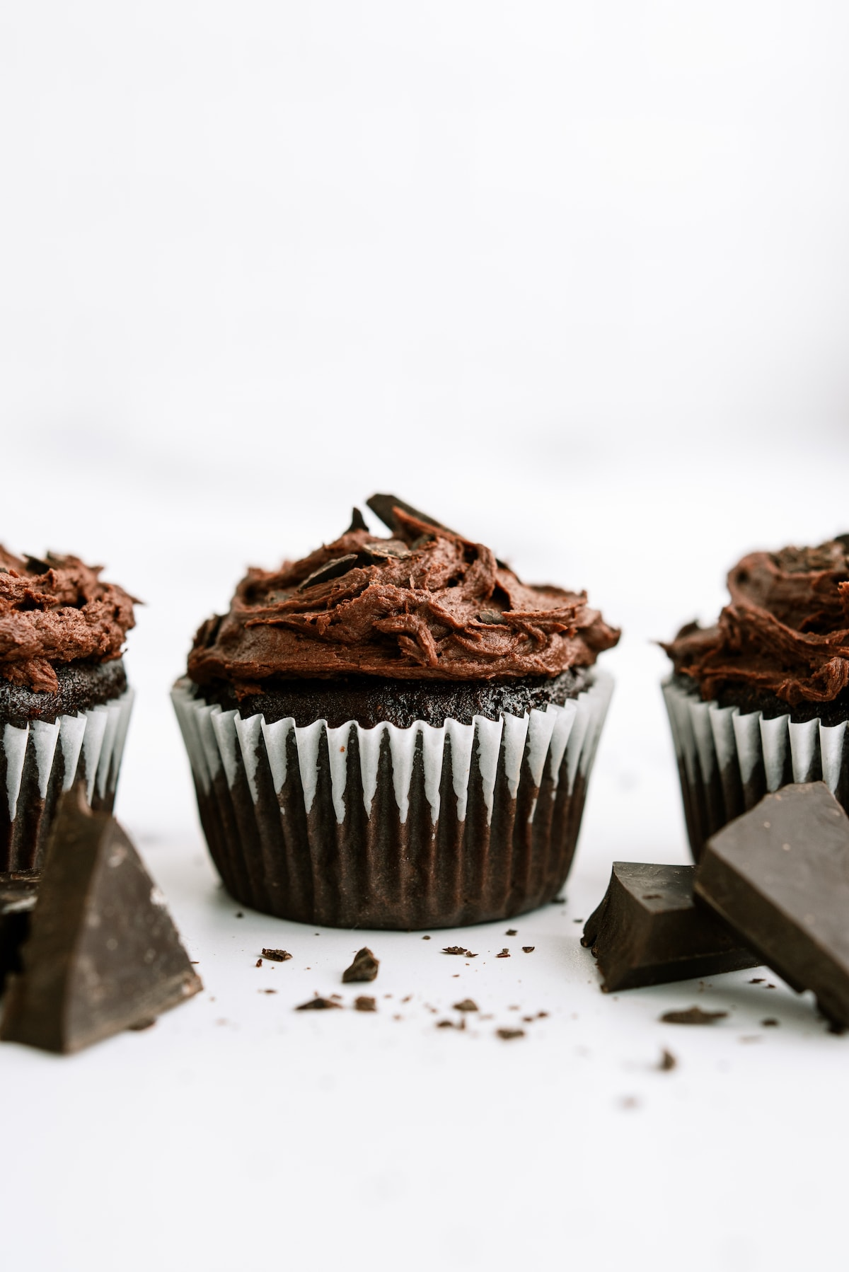 chocolate cupcakes on white counter