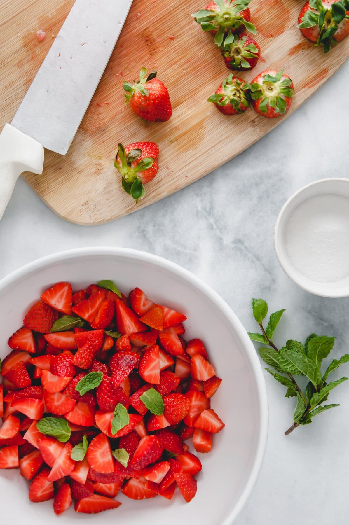 preparing strawberries