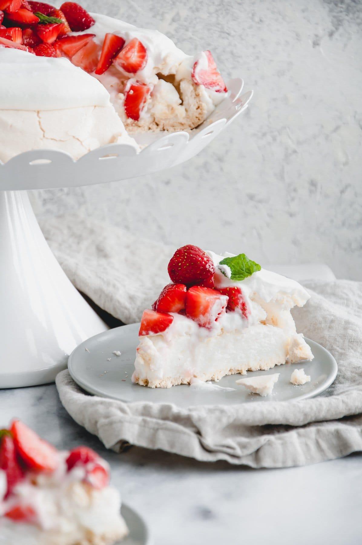 slice of strawberry pavlova on a plate