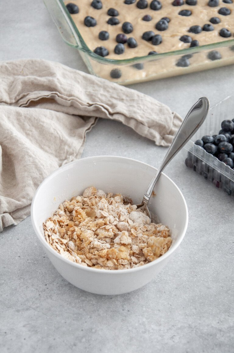bowl with oat crumb topping