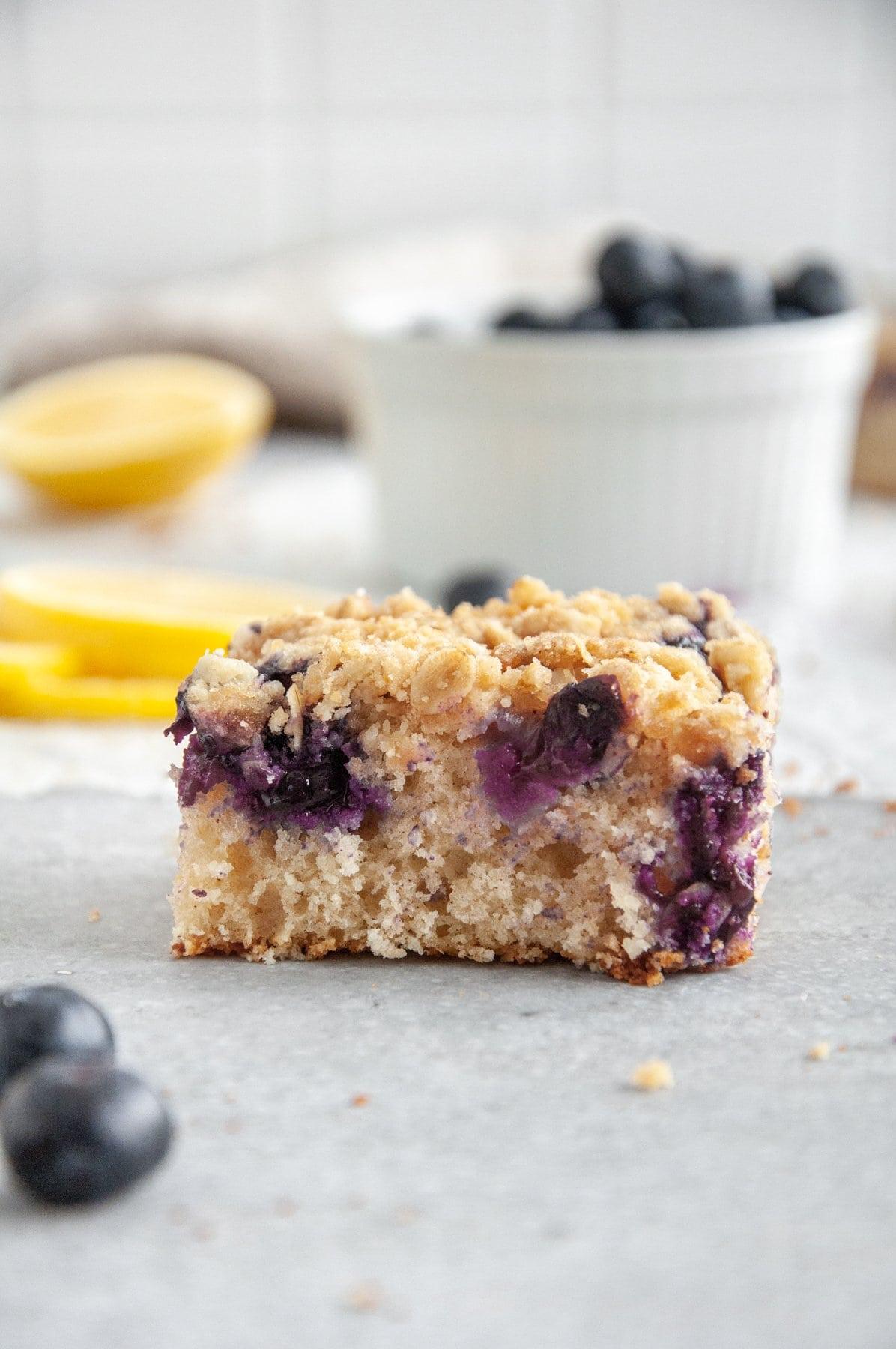 slice of lemon blueberry coffee cake