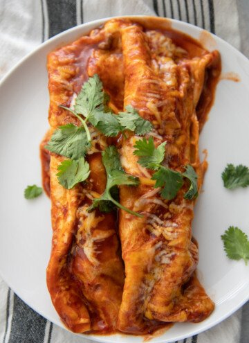 two beef enchiladas on plate