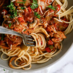 chicken cacciatore in bowl