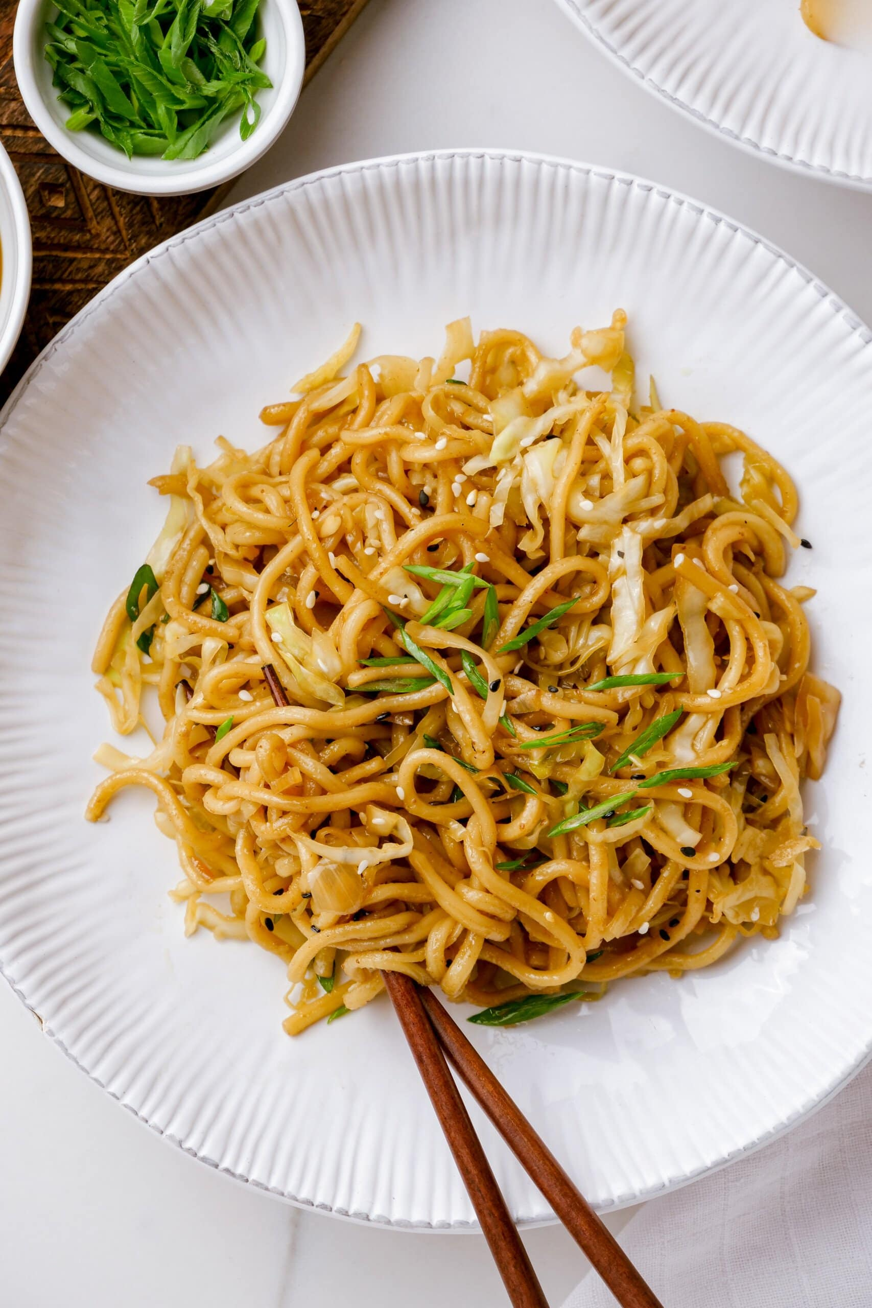 chow mein on a white plate