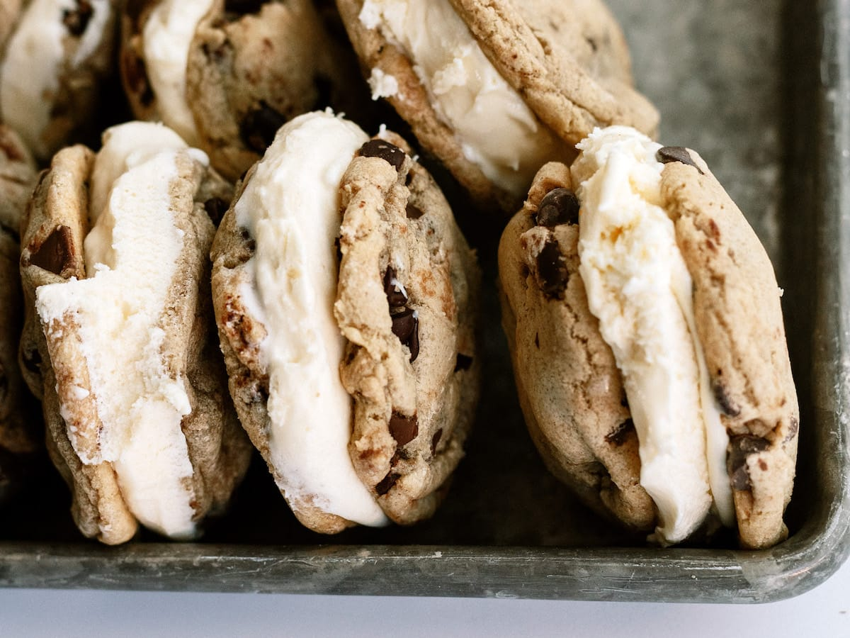 close up of cookie ice cream sandwiches