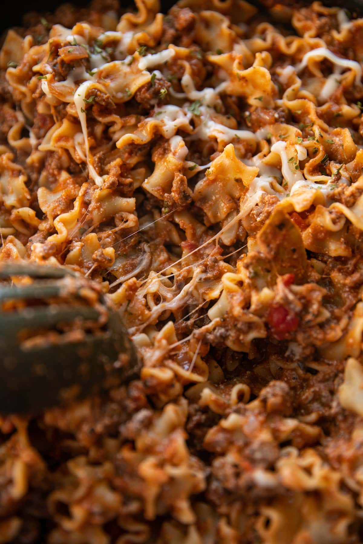 close up of skillet lasagna