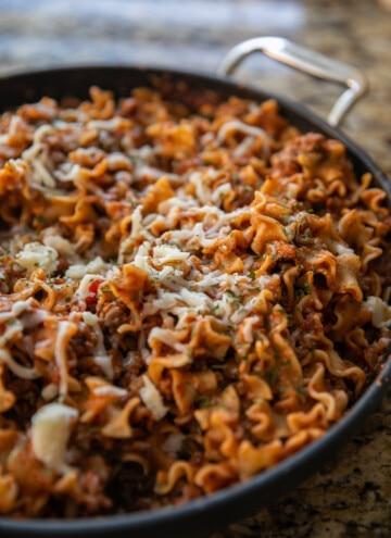 skillet lasagna in a skillet