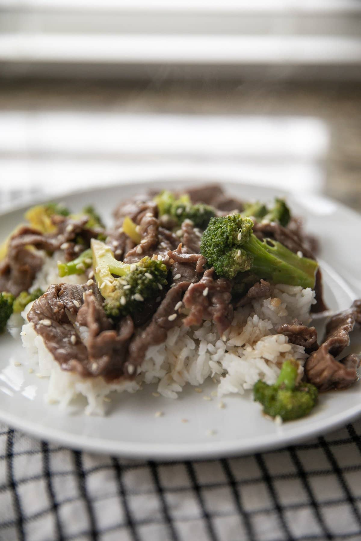 beef and broccoli on plate with rice