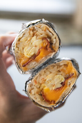cut in half breakfast burrito