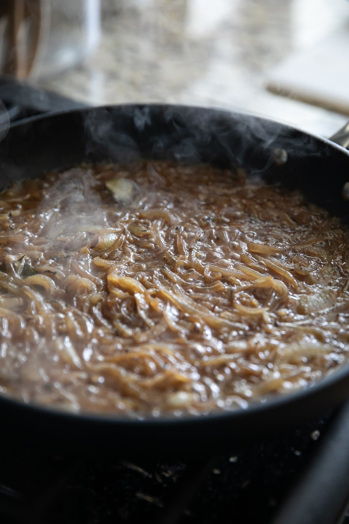 caramelized onions in a sauce all in a pan