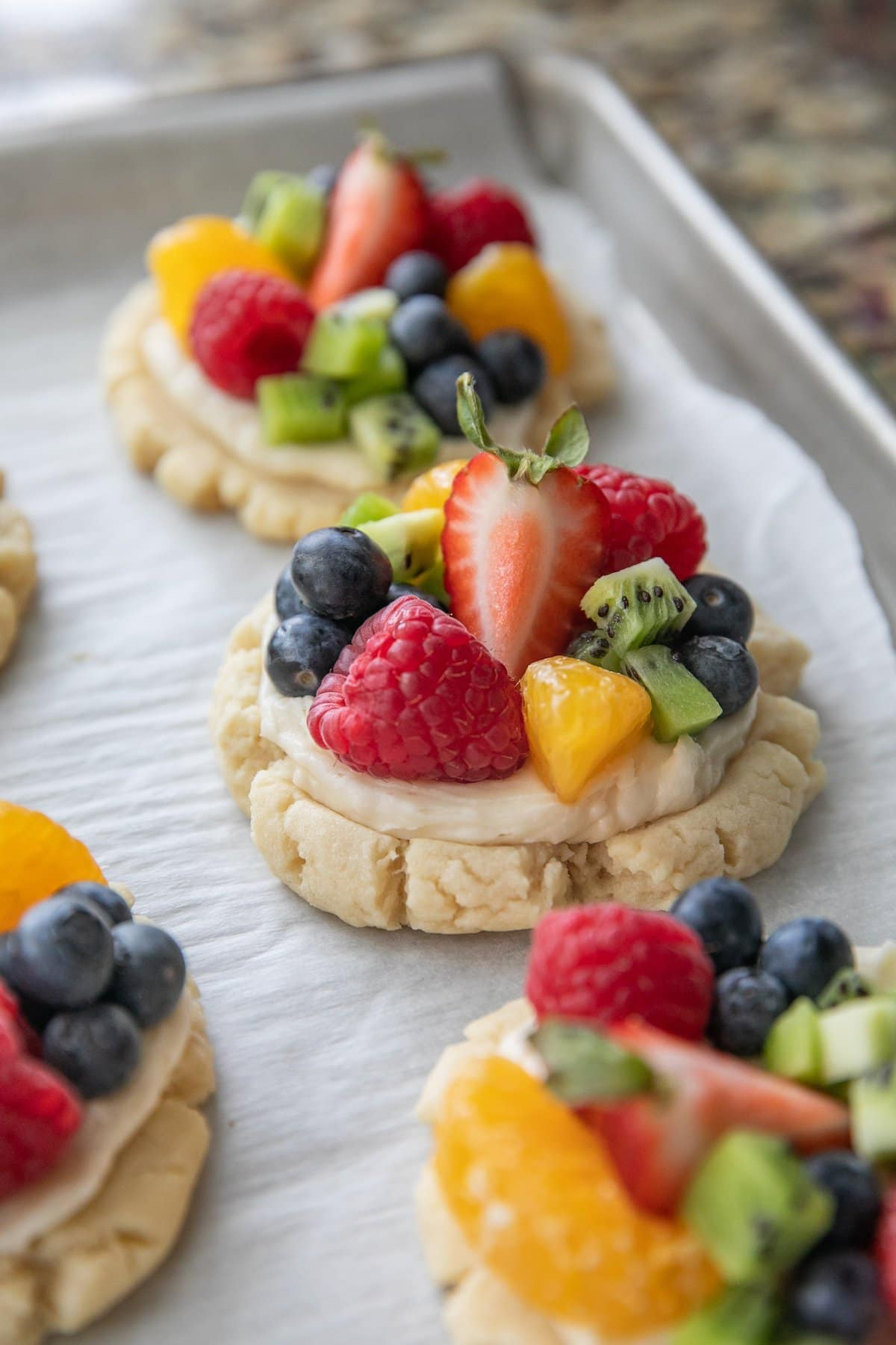 Ready-made fruit pizza cookies