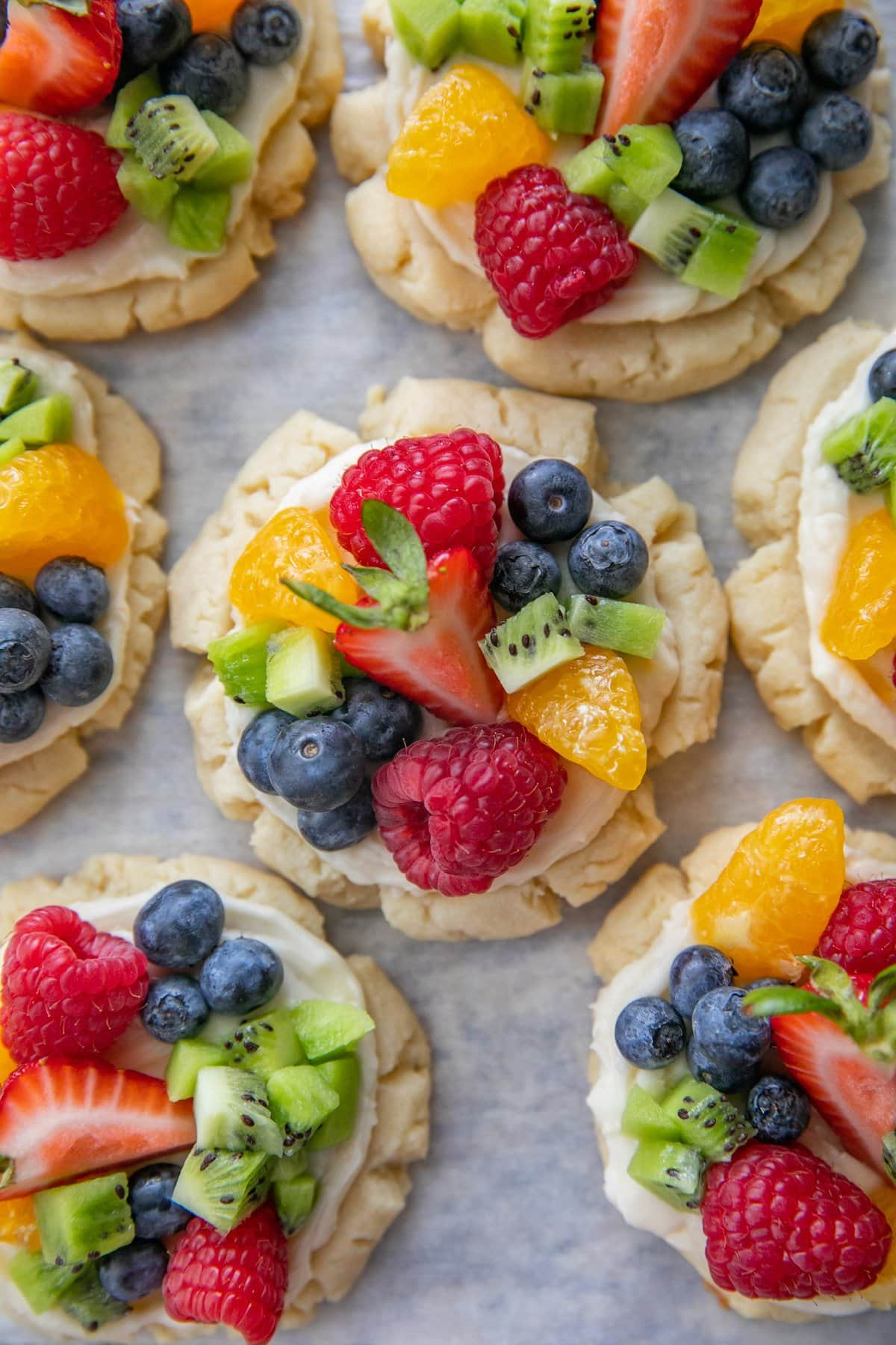 Fruit pizza biscuit on a baking tray