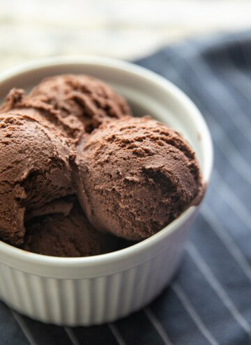 chocolate ice cream in a bowl