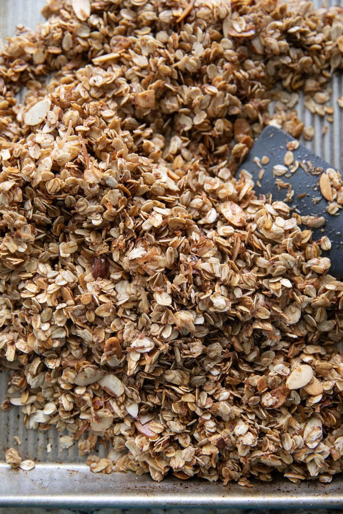 homemade granola in a baking sheet