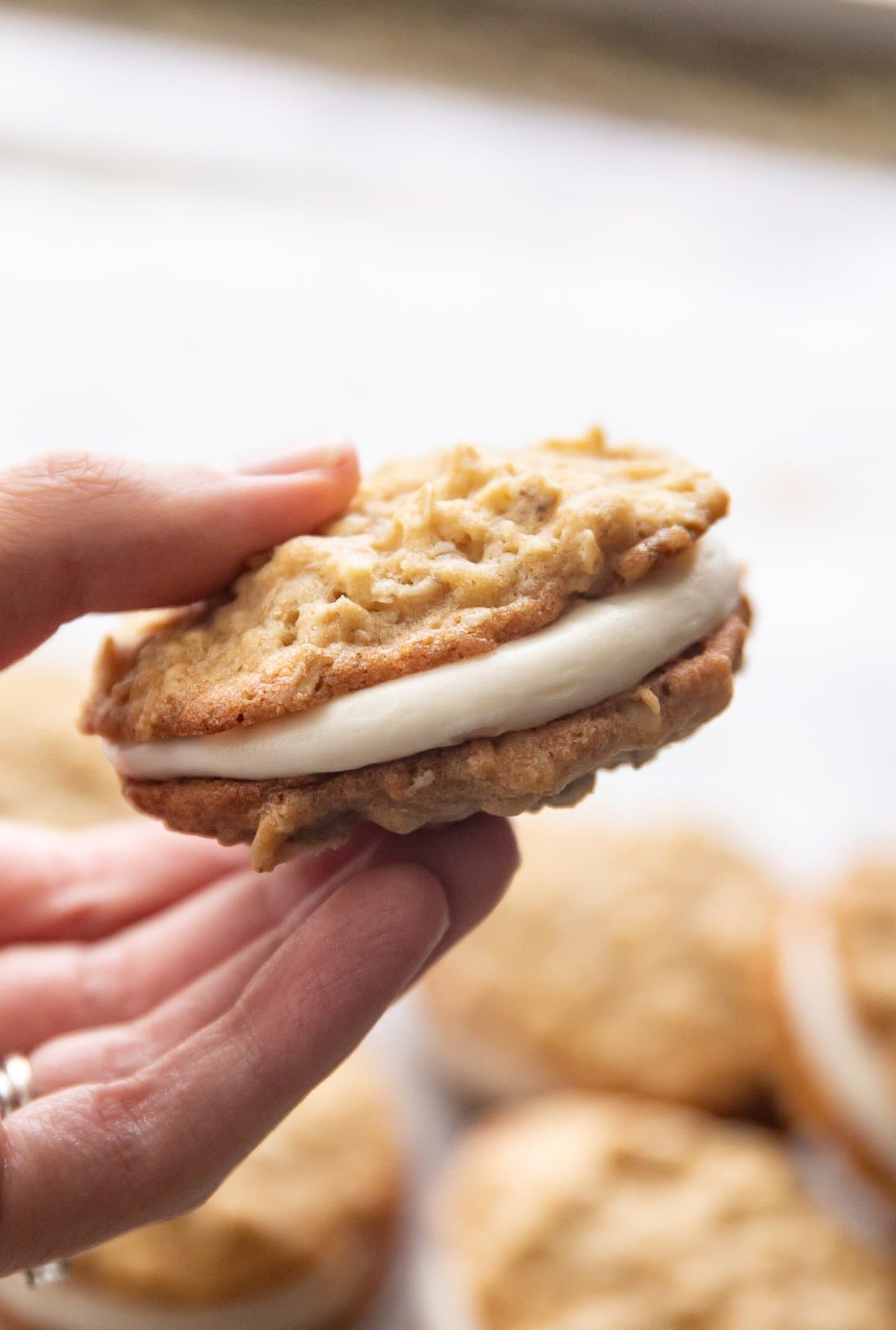 A hand holding an oatmeal cream pie