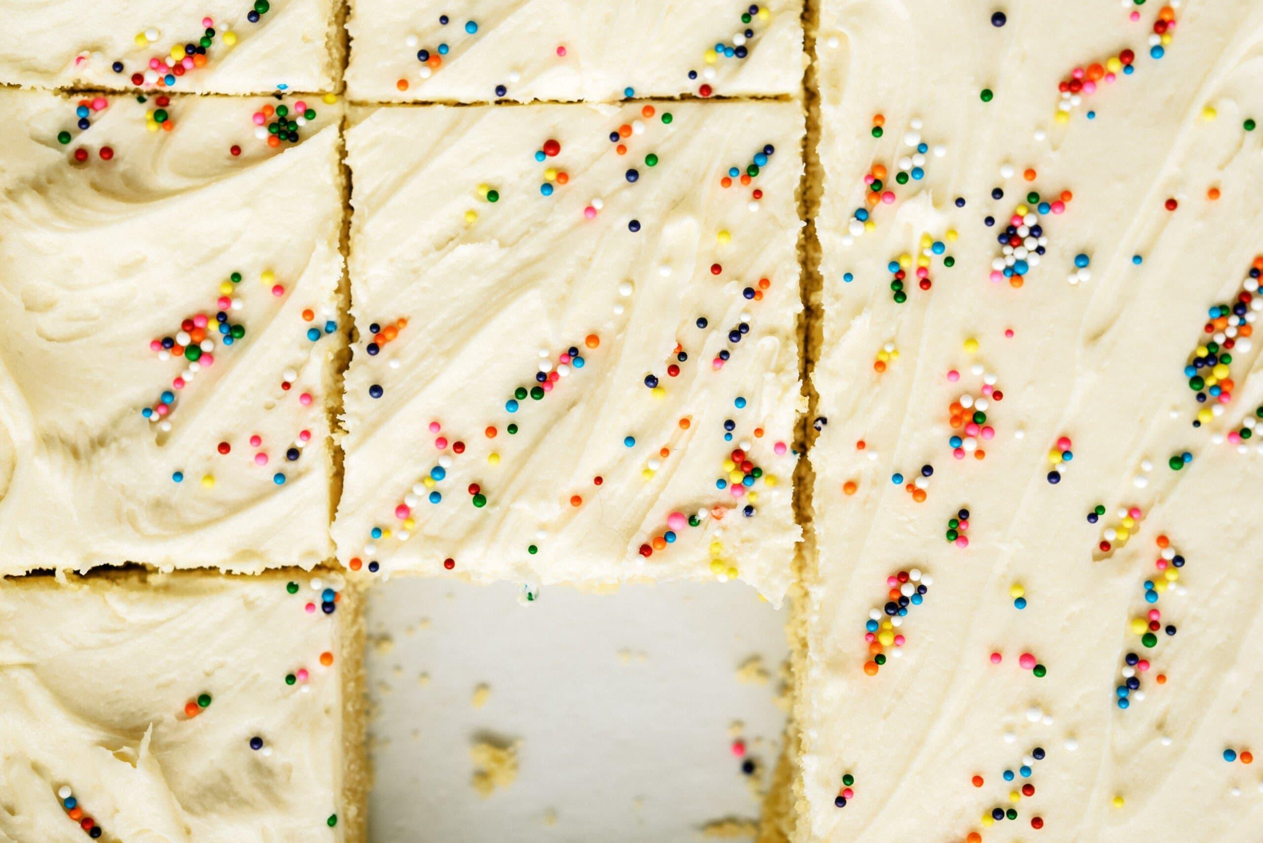 top down view of sliced sugar cookie bars