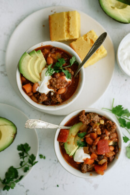 chili in two bowls