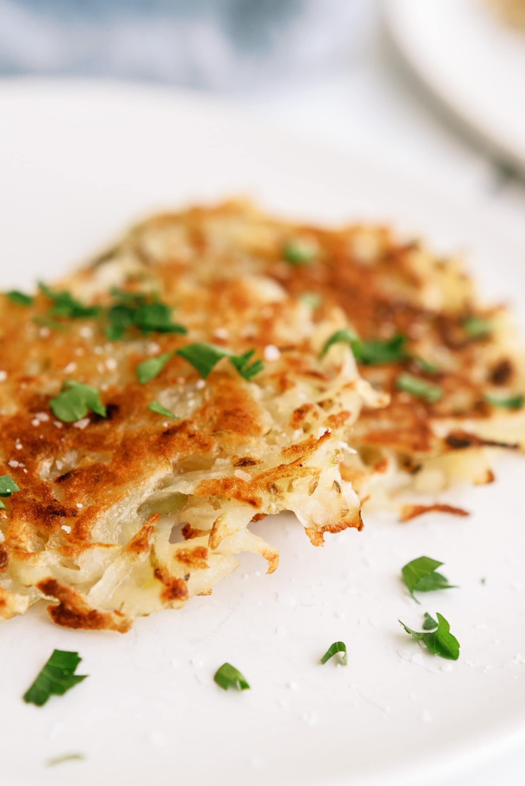 potato pancakes on a white plate